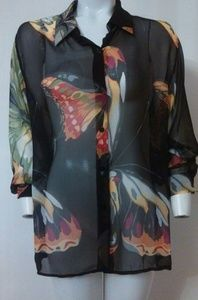 90s Silk Monarch Butterfly Sheer Chiffon blouse .